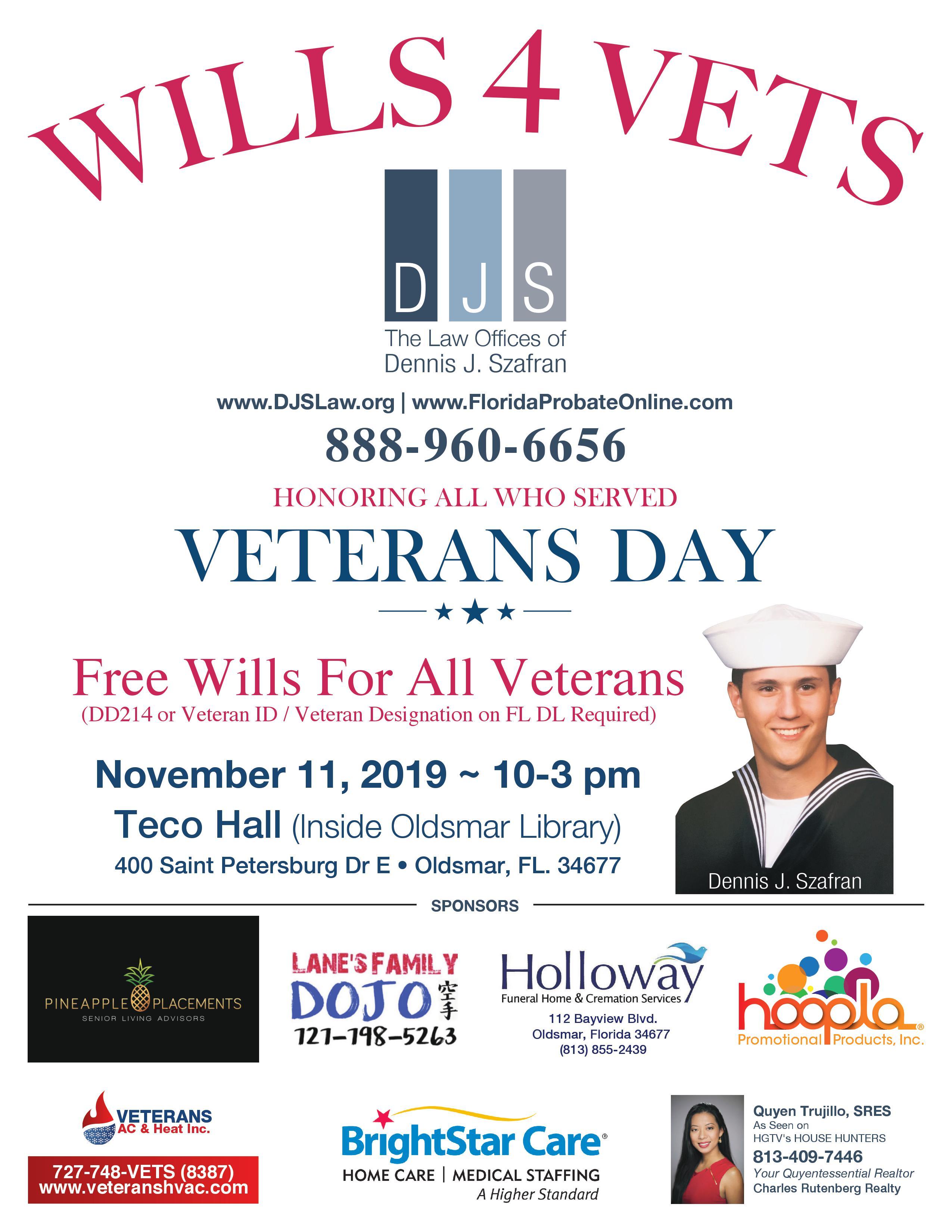 Wills For Veterans Event November 11, 2019